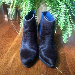 Burgundy Horse Hair Ankle Boots